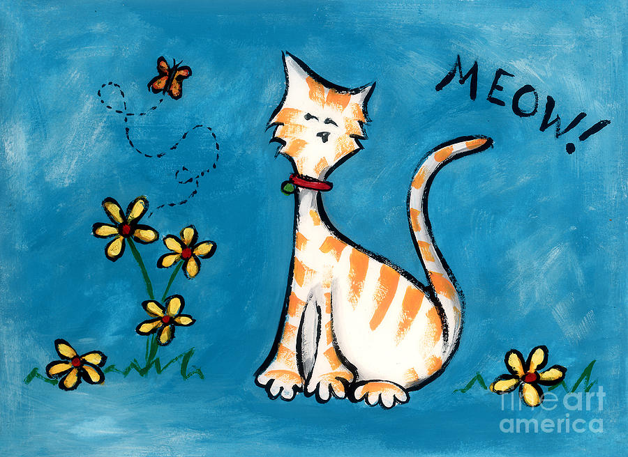 Cat Painting - Meow by Diane Smith