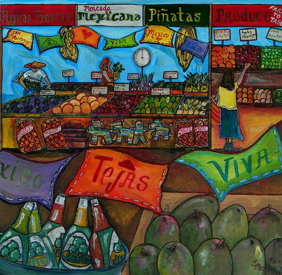 Farmers Market Painting - Mercado Mexicana by Patti Schermerhorn