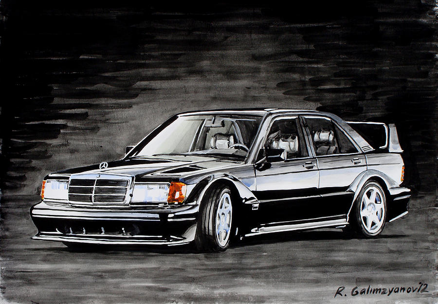 Mercedes 190 Drift >> Mercedes 190 Evolution II Painting by Ildus Galimzyanov