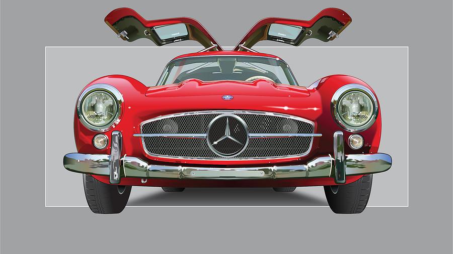 Super Car Drawing - Mercedes 300 Sl Gull Wing by Alain Jamar