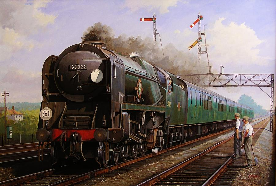 Steam Painting - Merchant Navy Pacific At Brookwood. by Mike  Jeffries