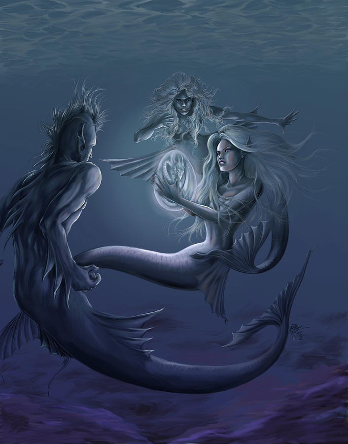 Fantasy Painting - Merfolk Discovery by MGL Meiklejohn Graphics Licensing