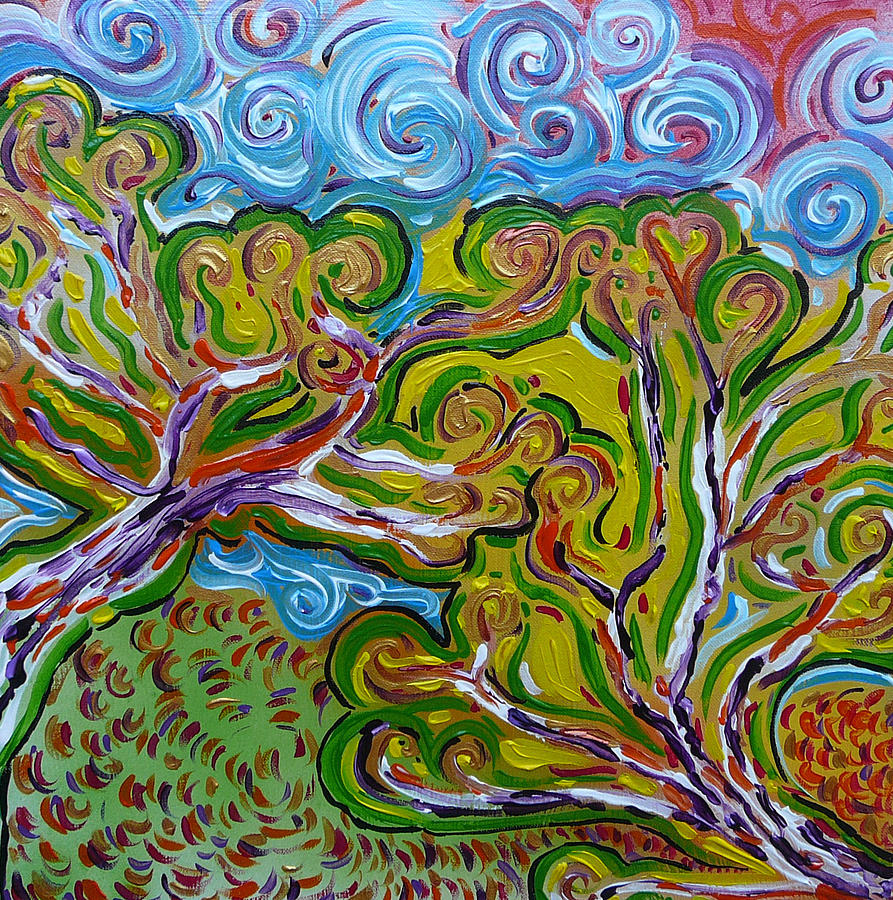 Colorful Painting Painting - Merging In The Trees by Gioia Albano