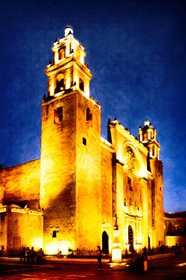 Merida Photograph - Merida Cathedral Glowing At Night by Mark Tisdale