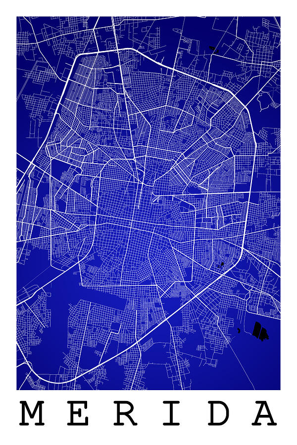 Merida Street Map Merida Mexico Road Map Art On Color Digital Art