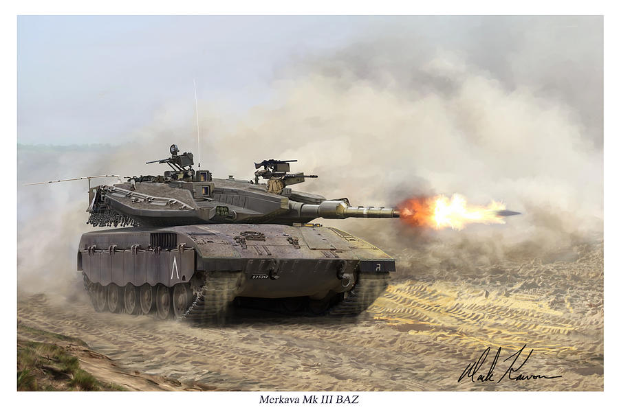 Military Painting - Merkava Mk IIi Baz by Mark Karvon