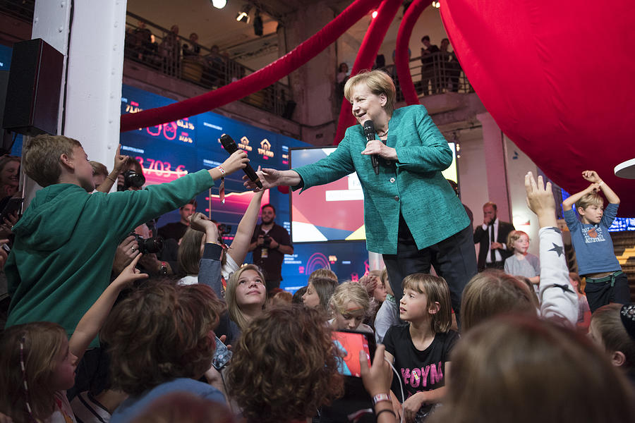 Merkel Holds Childrens Press Conference At CDU Election Program House Photograph by Steffi Loos