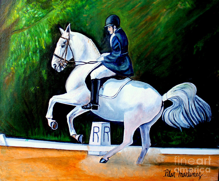 Horse Painting - Merlins Dance by Pilar  Martinez-Byrne