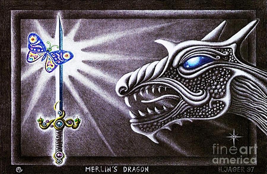 Merlin Drawing - Merlins Dragon by Hartmut Jager