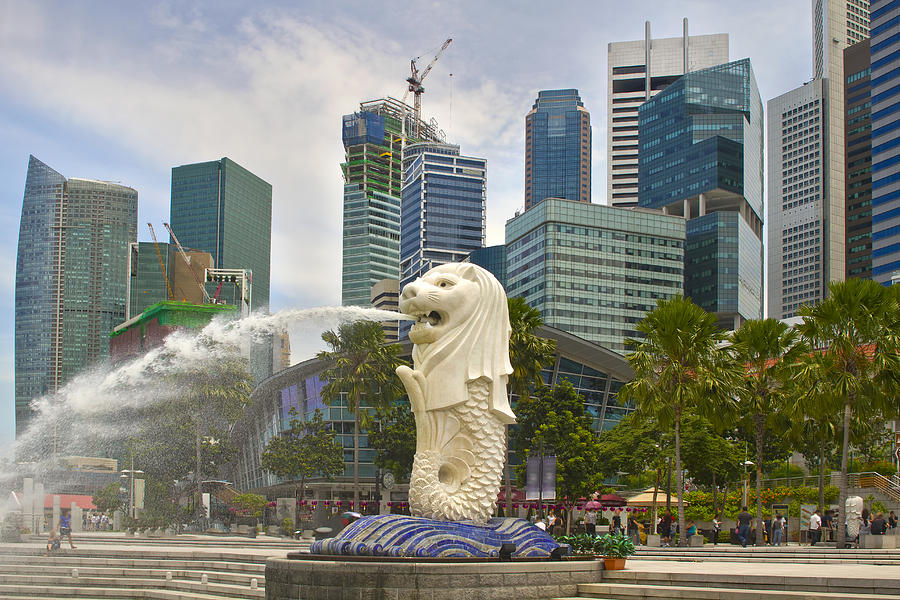 Merlion Photograph - Merlion Park In Singapore by David Gn