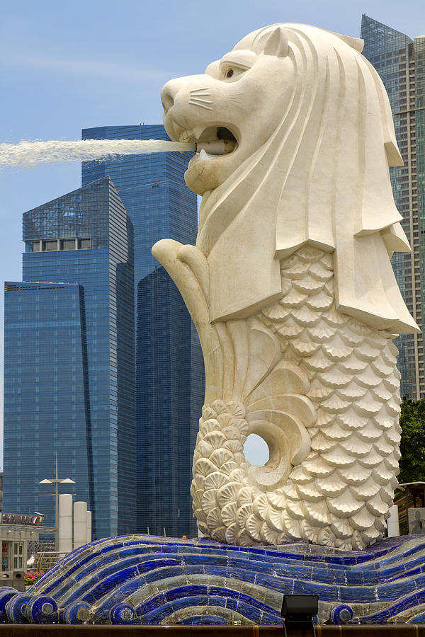 Merlion Photograph - Merlion Statue By Singapore River by David Gn