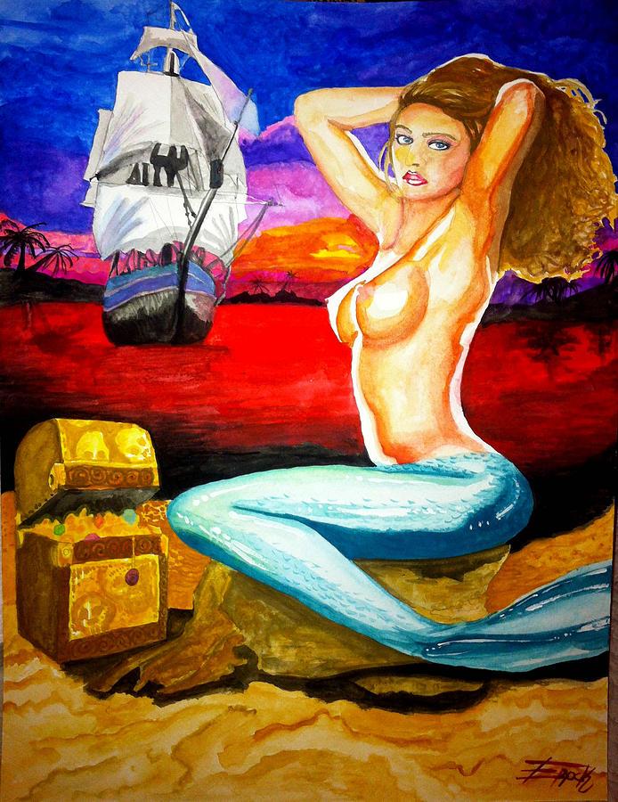 Mermaid Painting - Mermaid by Eric Hamilton
