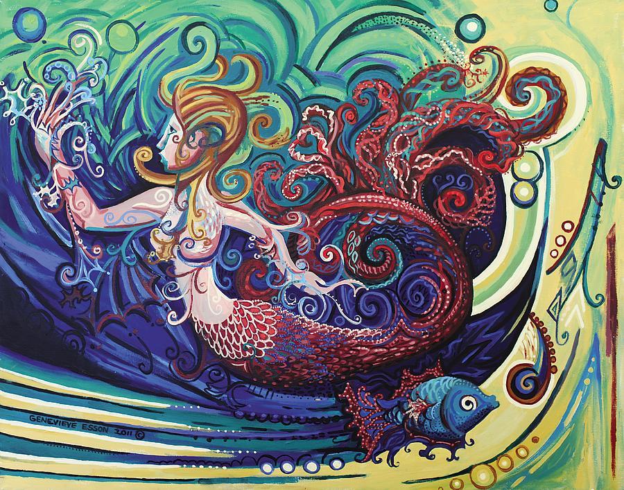 Mermaid Painting - Mermaid Gargoyle by Genevieve Esson