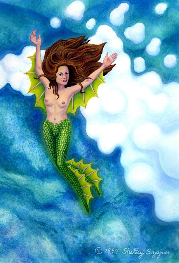 Mermaid Painting - Mermaid in Atlantis by Shelley Shayner