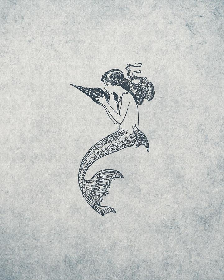 Mermaid Drawing - Mermaid - Nautical Design by World Art Prints And Designs