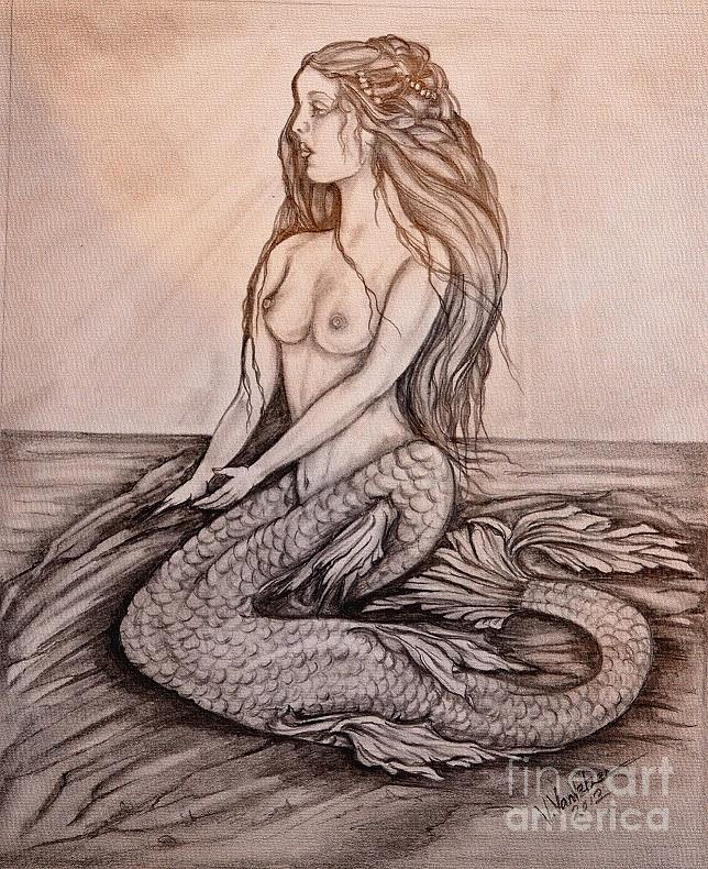 Pencil Drawing - Mermaid On Rock by Valarie Pacheco