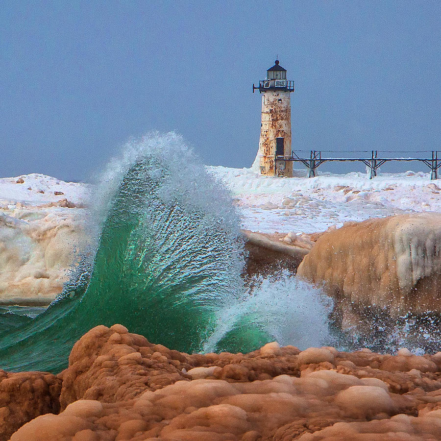 Mermaid Tail and The Manistee Lighthouse Square by Steve White