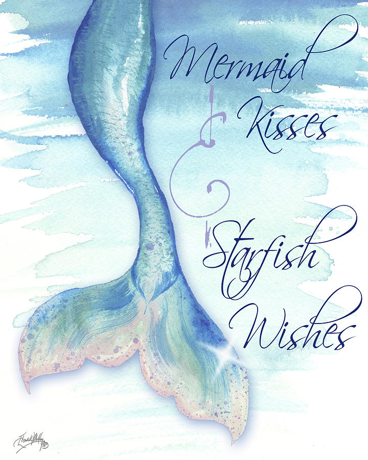mermaid tail i kisses and wishes painting by elizabeth