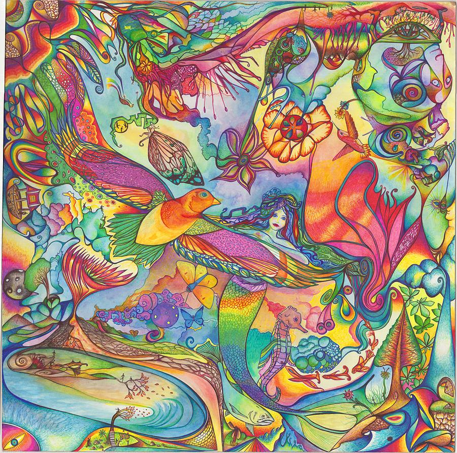 Mandala Drawing - Mermaid Towne by DiNo and Dart