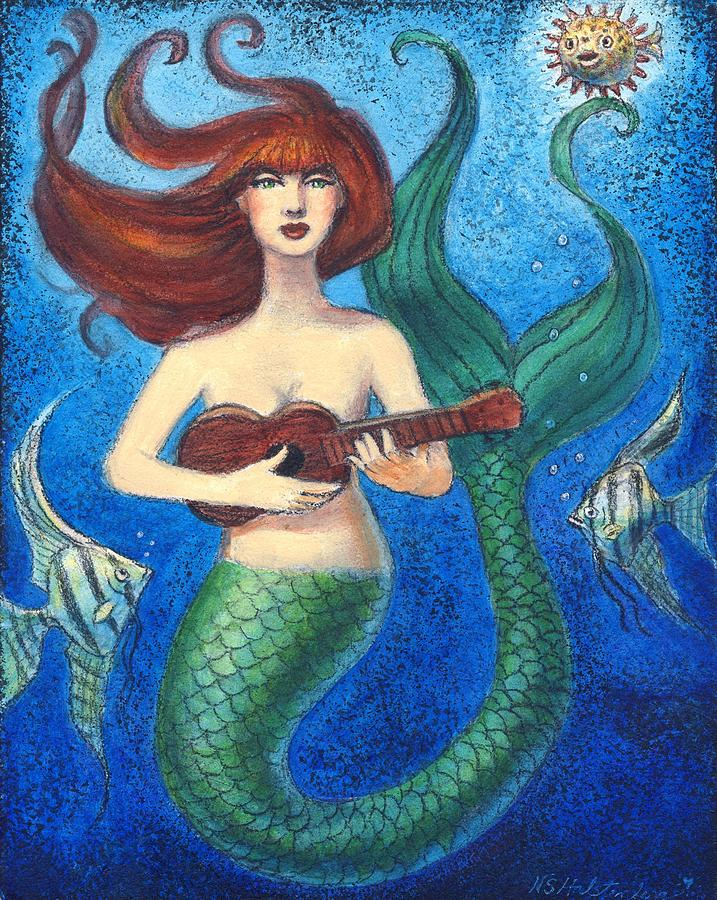 Mermaid Ukulele Angels Painting by Sue Halstenberg