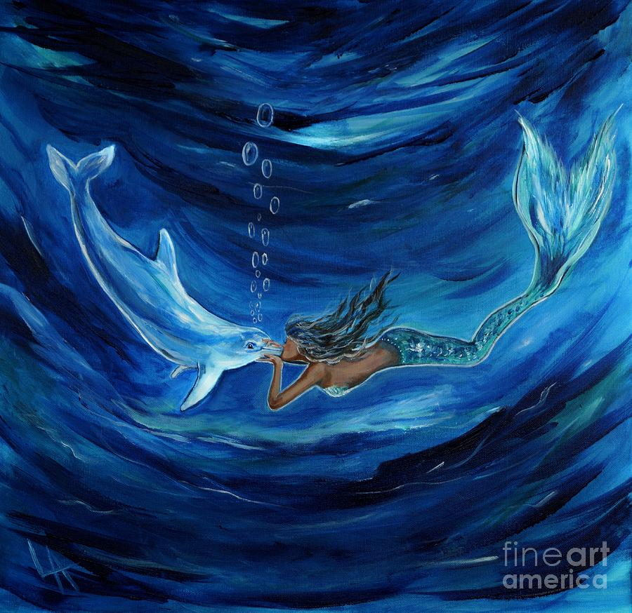 Mermaids Dolphin Buddy Painting By Leslie Allen