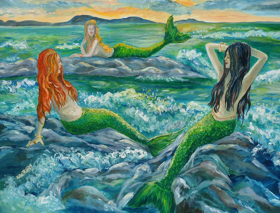 Mermaids On The Rocks Painting by Julie Brugh Riffey