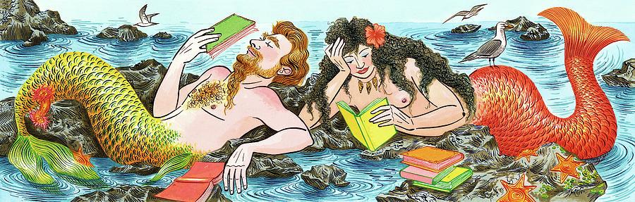 Mermaids  Reading Books Digital Art by Foto Bureau Nz Limited