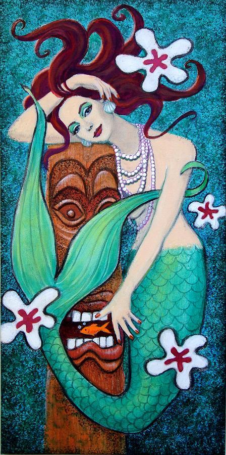 Mermaid Painting - Mermaids Tiki God by Sue Halstenberg