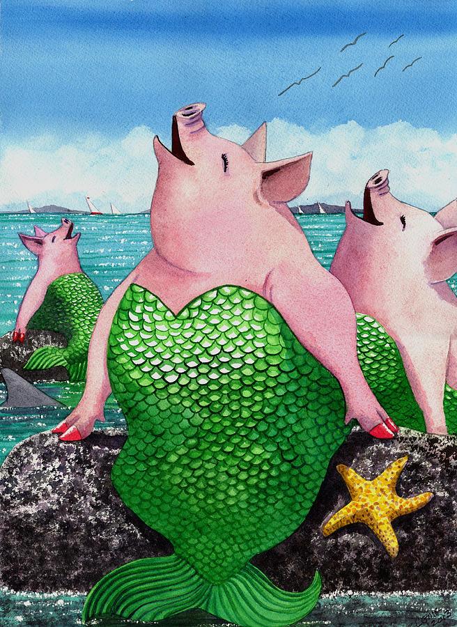 Mermaid Painting - Merpigs by Catherine G McElroy