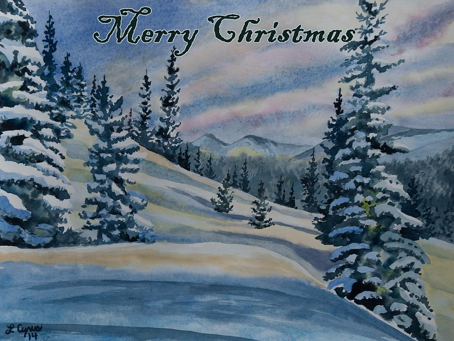 Happy Holidays Painting - Merry Christmas - Winter Landscape by Cascade Colors