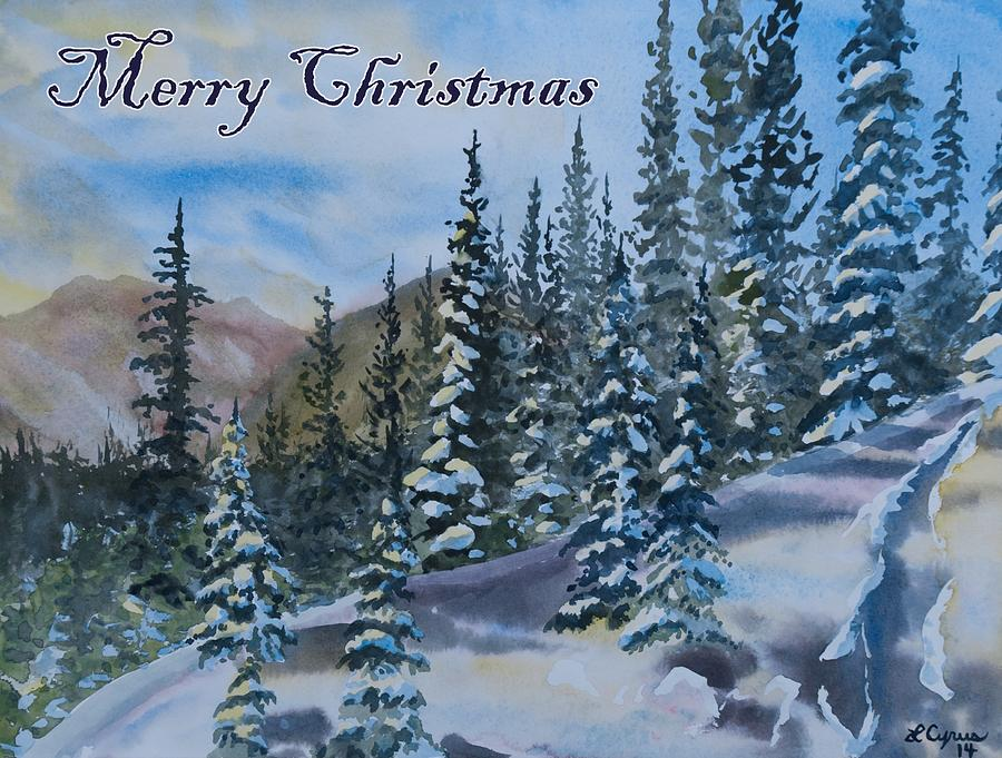 Christmas In Colorado Mountains.Merry Christmas Winter Trees And Mountains