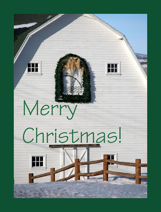 Merry Christmas Barn Green Border 1186 Photograph