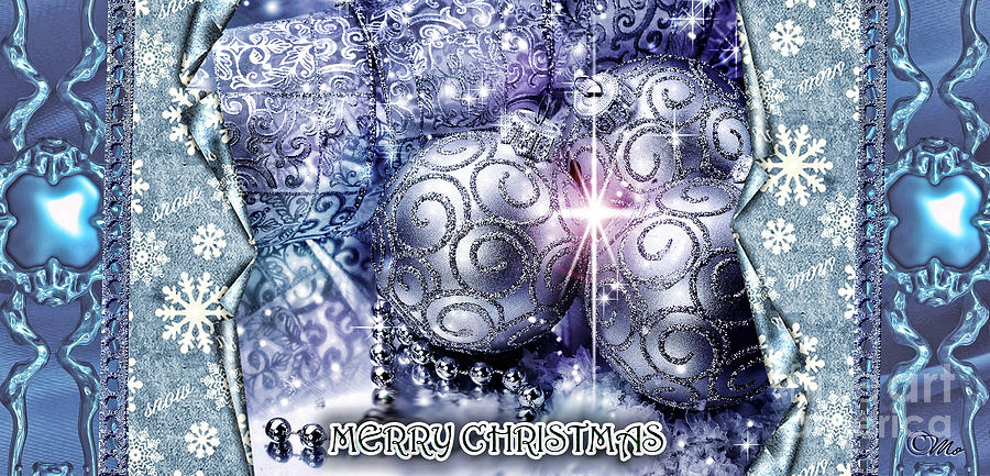 Merry Christmas Digital Art - Merry Christmas Blue by Mo T