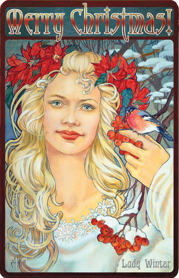 Merry Christmas Card 2 In Art Nouveau Style Painting by Irina Effa