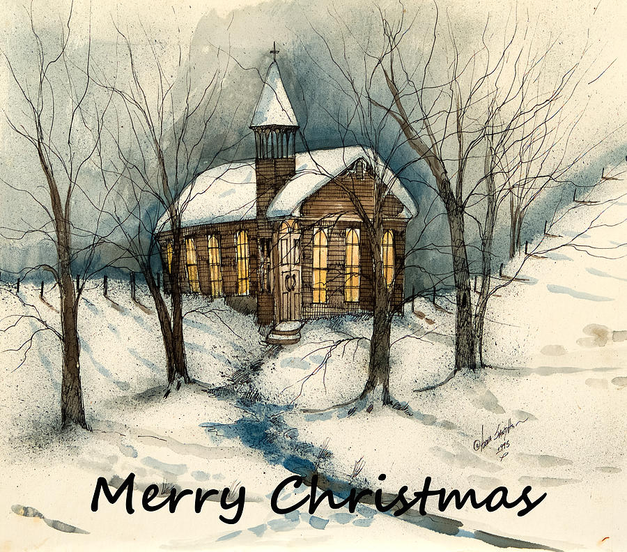 Merry Christmas Country Church Painting by Anna Sandhu Ray