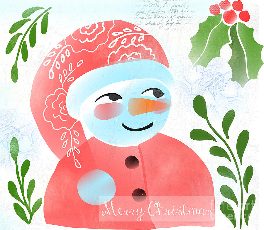 Red Digital Art - Merry Christmas by Elaine Jackson