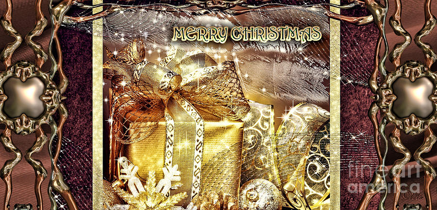 Merry Christmas Digital Art - Merry Christmas Gold by Mo T
