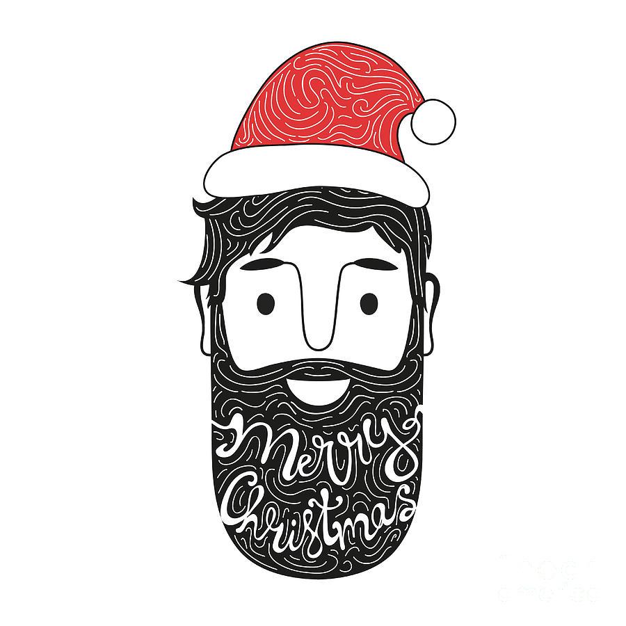 Typographic Digital Art - Merry Christmas Hand Drawn Style by Julymilks