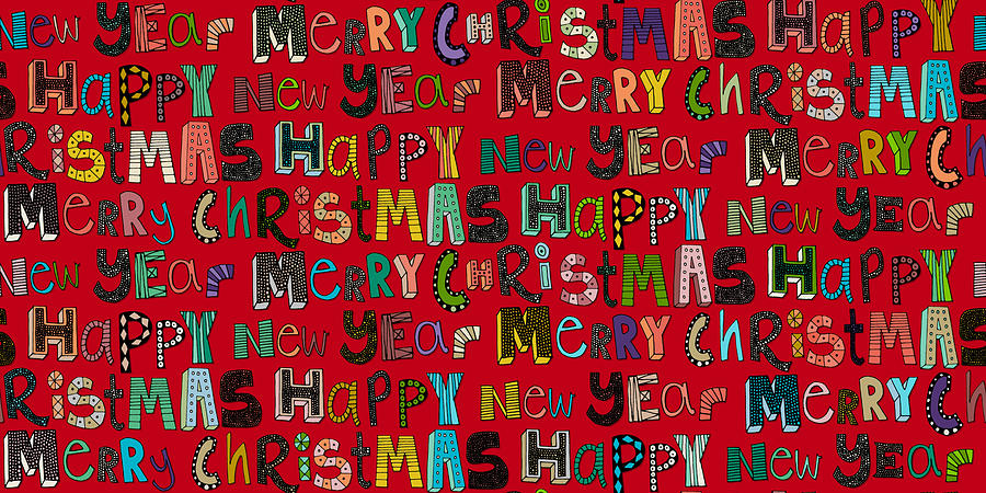 Red Drawing - Merry Christmas Happy New Year Red by MGL Meiklejohn Graphics Licensing