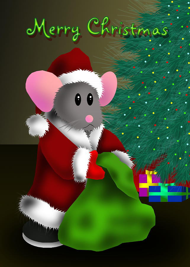 Merry Christmas Mouse Digital Art by Jeanette K