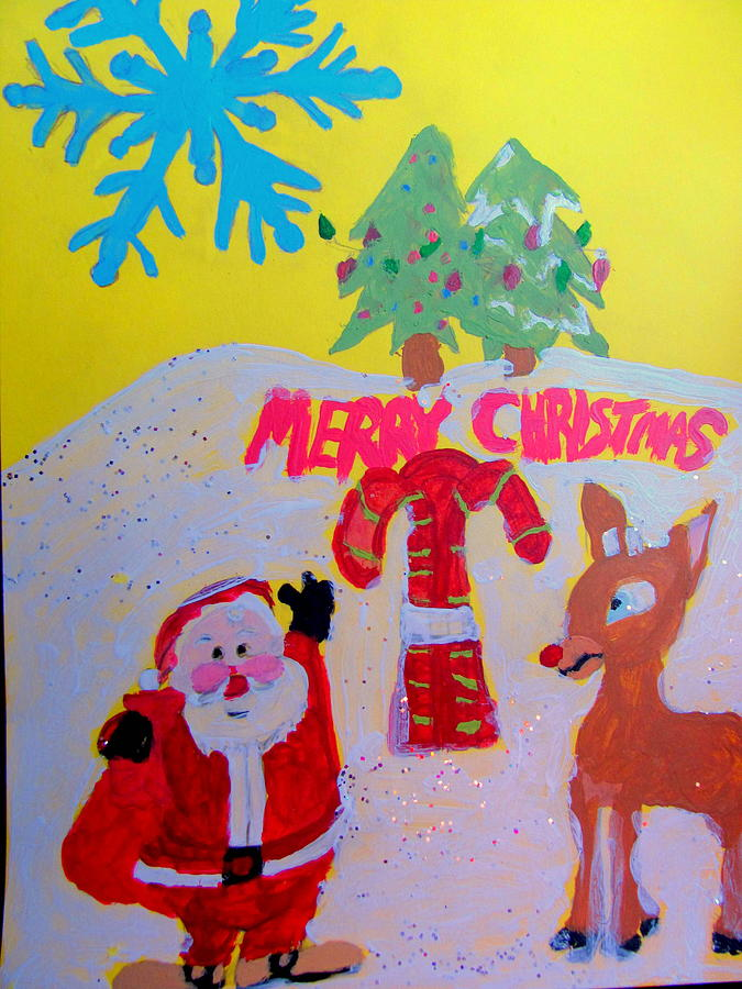 Acrylic Painting - Merry Christmas Scene by Amy Bradley