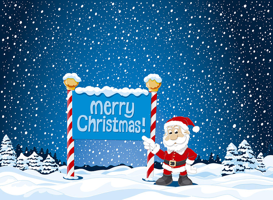 Merry Christmas Sign Santa Claus Winter Landscape Digital Art by ...