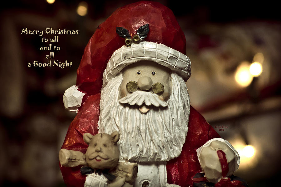 Santa Photograph - Merry Christmas To All by Trish Tritz