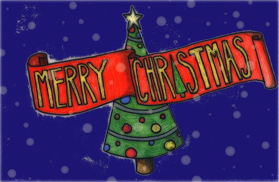 Santa Digital Art - Merry Christmas Tree by Jame Hayes