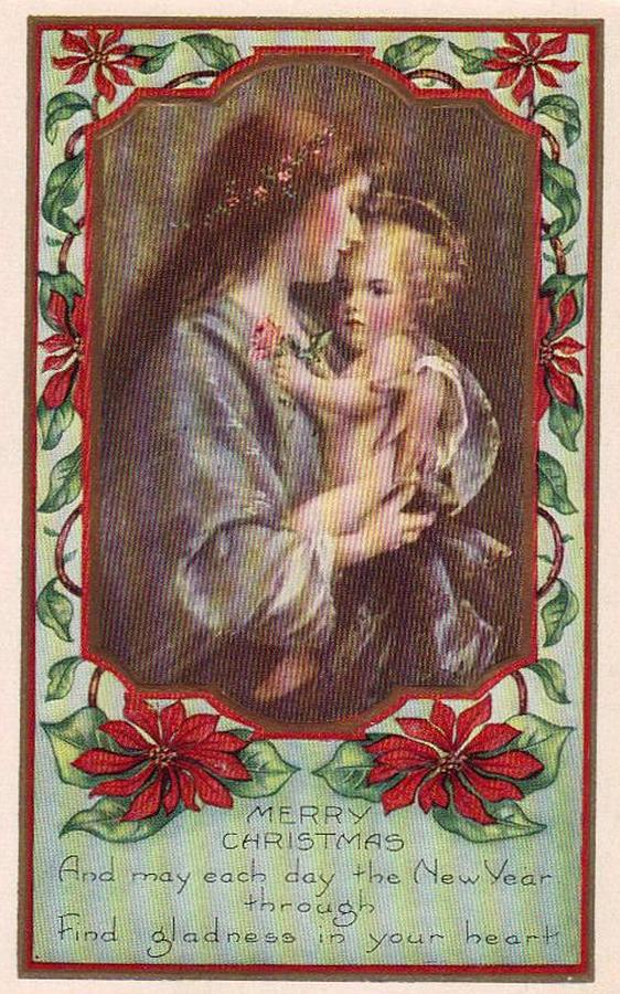 Merry Christmas Virgin And Child Painting by Olde Time  Mercantile