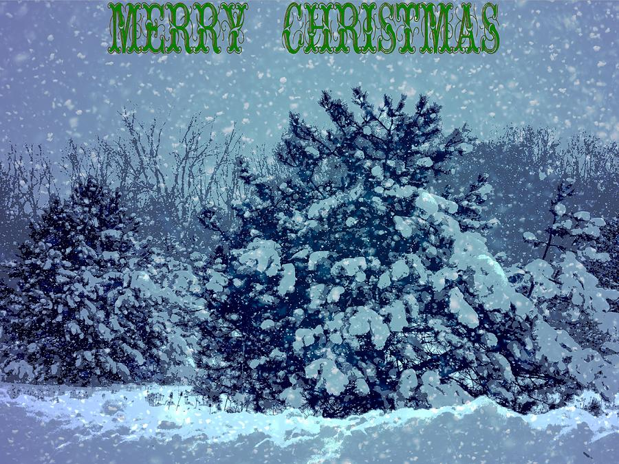 merry christmas winter scene mixed media by dan sproul