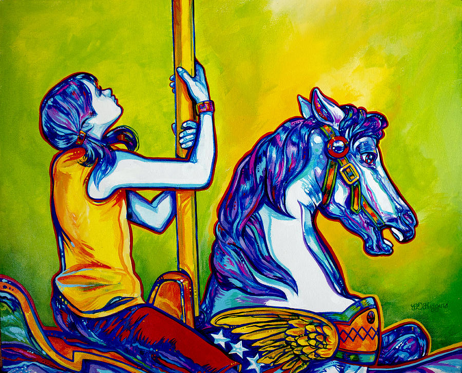 Carousel Painting - Merry-go-round by Derrick Higgins