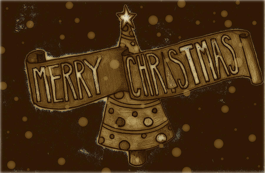 Santa Drawing - Merry Sepia Christmas by Jame Hayes