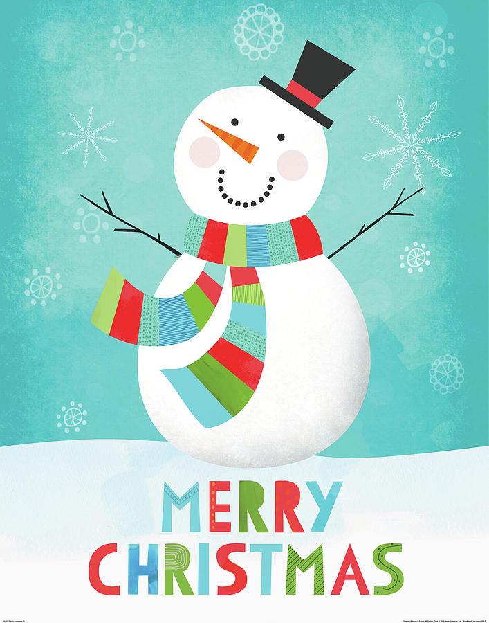Black Painting - Merry Snowman IIi by Lamai Mccartan