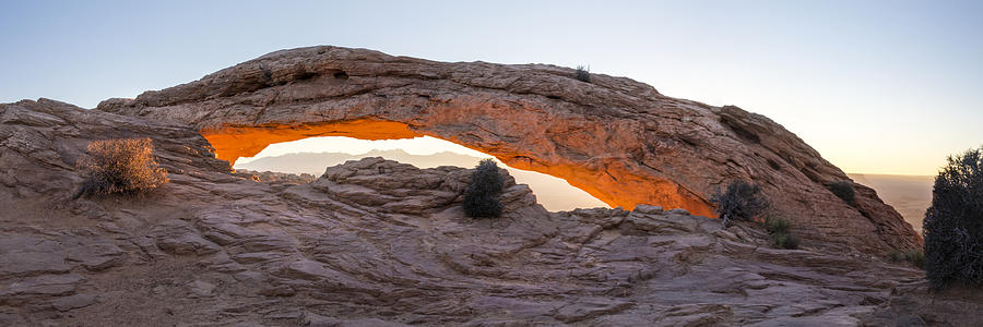 Landscape Photograph - Mesa Arch Sunrise Panorama - Canyonlands National Park - Moab Utah by Brian Harig
